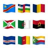 Vinkande flaggor av olika länder royaltyfri illustrationer