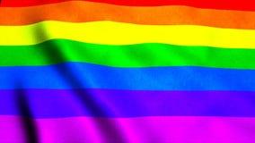 Vinkande glad regnbågeflagga för regnbåge på vind, bakgrund för tolkning 3d, frambragd dator Arkivbilder