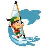 Vinkande hälsningar för tecknad filmpojke och segla i havet stock illustrationer