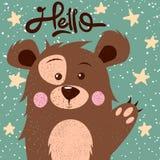 Vinkande hand för älskvärd gullig björn Tryck för idé fyra dig t-skjorta stock illustrationer