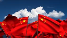 Vinkande kinesflaggor royaltyfri illustrationer