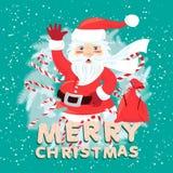 Vinkande Santa Claus iside julkransen med säcken som är full av Arkivfoton
