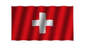 Vinkande schweizareflagga djur footage Bakgrund stock illustrationer