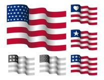 Vinkande stjärnor och remamerikanska flaggan Arkivfoto