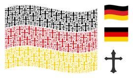 Vinkande tysk flaggacollage av Christian Cross Icons royaltyfri illustrationer