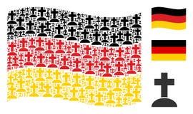 Vinkande tysk flaggacollage av kyrkogårdsymboler stock illustrationer