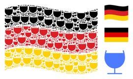 Vinkande tysk flaggamodell av alkoholexponeringsglassymboler stock illustrationer