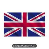 Vinkande UK-flagga på en vit bakgrund också vektor för coreldrawillustration Royaltyfria Bilder