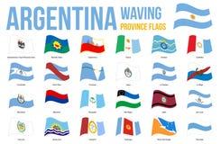 Vinkande vektor för Argentina landskapflaggor på vit bakgrund Landskap av Argentina alla flaggor royaltyfri illustrationer