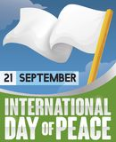 Vinkande vit flagga- och himmelsikt för dag av fred, vektorillustration Royaltyfri Illustrationer