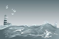 Vinkar abstrakt bakgrund för fantasin med fyren och grå färger Advertizingaffisch med seascape för maritimt företag royaltyfri illustrationer