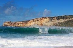 Vinkar på den Nazare stranden Arkivfoto