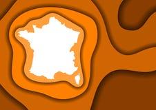 Vinkar skuggar det abstrakta schemat för den Frankrike översikten från det orange snittet 3D för färglagerpapper och en över anna vektor illustrationer