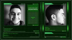 Vinkel för stift för hörn för manöverenhet för profil för Digital futuristisk armésoldat stock video