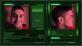 Vinkel för stift för hörn för manöverenhet för profil för Digital futuristisk armésoldat - kia arkivfilmer
