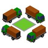 Vinkel för visning för vektorlastbil isometrisk under-olik vektor illustrationer