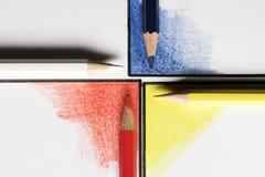 Vinkel fyra med fyra blyertspennor Royaltyfri Fotografi