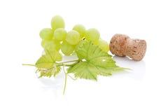 Vinkork och druvor. arkivbild