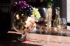 Vinkorkar, grupp av druvor och exponeringsglas av rött vin royaltyfri foto