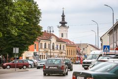 Vinkovci town in Croatia. VINKOVCI, CROATIA - MAY 14, 2018 : Traffic and typical traditional baroque architecture in Vinkovci, Croatia royalty free stock photos