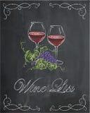 Vinlista med två vinexponeringsglas och druva på svart tavlabackgrou royaltyfri illustrationer