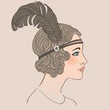 Vinmeisje: Retro ontwerp van de partijuitnodiging royalty-vrije illustratie