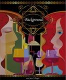 Vinmenybakgrund, stiliserade vinflaskor och folk Arkivfoto