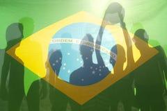 Vinnande fotboll Team Brazilian Flag för mästare Arkivfoto