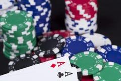 Vinnande kasinopokerhand Arkivfoton