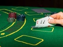 Vinnande kombination i pokerlek Royaltyfria Bilder