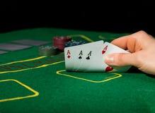 Vinnande kombination i pokerlek Arkivfoto