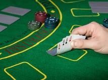 Vinnande kombination i pokerlek Fotografering för Bildbyråer