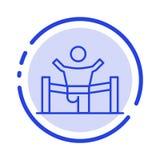 Vinnare affär, fullföljande, ledare, ledarskap, man, blå prickig linje linje symbol för lopp stock illustrationer