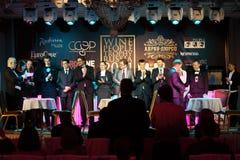vinnarear för meddelandekonkurrenssommeliers royaltyfri foto