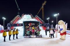 Vinnarear på Snowboardvärldscupen royaltyfri bild