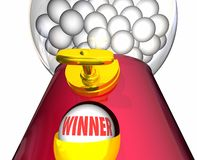 VinnareGumball maskin Lucky Winning Ball Royaltyfri Bild