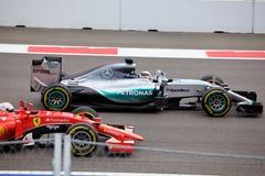 Vinnaren Lewis Hamilton Formel en Sochi Ryssland Royaltyfria Bilder