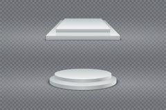 Vinnarepodiumuppsättning Rund och fyrkantig två-etapp 3d podium, sockel eller plattform på genomskinlig bakgrund vektor stock illustrationer