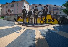 Vinnitsa,乌克兰- 2018年5月28日 对Beatles小组的纪念碑 免版税库存照片