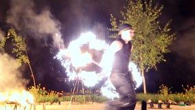 VINNITSA, ΟΥΚΡΑΝΙΑ - 21 ΣΕΠΤΕΜΒΡΊΟΥ: Η πυρκαγιά παρουσιάζει την ημέρα της πόλης απόθεμα βίντεο