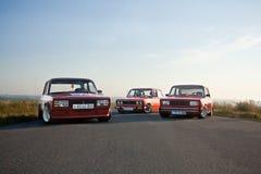 Vinnitsa, Украина - 4-ое августа 2012 Старый советский автомобиль VAZ, красное ретро Стоковое Изображение