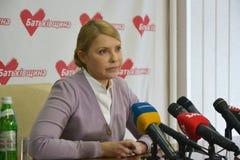 Vinnitsa - 4月10 :在她的讲话中的乌克兰总统候选人尤利娅Timoshenko在April10, 2014年在Vinnirsa,乌克兰 库存图片