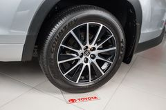Vinnitsa, de Oekraïne - Januari 10, 2018 Toyota-Hooglanderconcept Royalty-vrije Stock Afbeelding