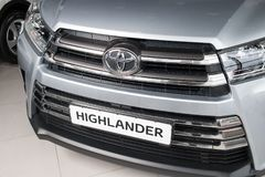 Vinnitsa, de Oekraïne - Januari 10, 2018 Toyota-Hooglanderconcept Royalty-vrije Stock Afbeeldingen