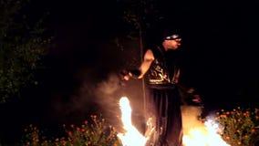 VINNITSA, DE OEKRAÏNE - SEPTEMBER 21: De brand toont op de dag van de stad stock footage