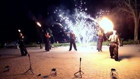 VINNITSA, DE OEKRAÏNE - SEPTEMBER 21: De brand toont op de dag van de stad stock videobeelden