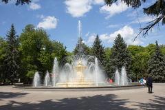 Vinnitsa. The fountain in the Park. Ukraine, Vinnitsa. The Central fountain in the city Park of culture and rest named M. Gorky. The end of April 2014 Royalty Free Stock Photo