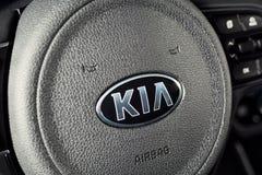 Vinnitsa, Ucrânia - 19 de fevereiro de 2017 Carro do conceito de KIA Niro Insid Foto de Stock Royalty Free