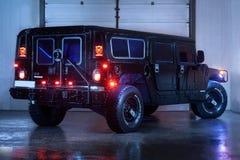 Vinnitsa, Ucrânia - 23 de fevereiro de 2012 Hummer H1, americano preto Imagem de Stock