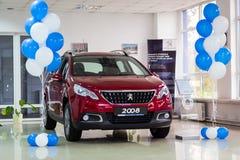 Vinnitsa Ukraina - Oktober 22, 2016 Peugeot begreppsbil 2008 pe Royaltyfri Bild